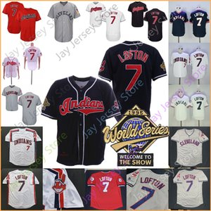Kenny Lofton Jersey 1995 World Series WS Cleveland Trikots Pullover Knopf Rot Marine Weiß Grau Home Away All genähtes