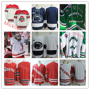 Мужские NCAA New North Dakota Fighting Hawks Hockey Jersey Shifted Blank Wisconsin Badgers Penn State Nittany Lions Ohio State Buckeyes майки