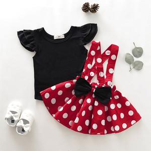 2 PCS Criança Criança Bebê Menina Sólida Top Camisa Suspender Saias Vestido Outfit Roupas
