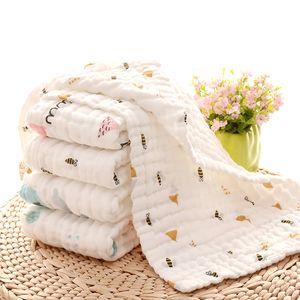 Bébé nouveau-né Muslin Serviette place Bibs Enfants 6 couches Lave-Gaze Mouchoir coton Serviette lingette Wrap enfant en bas âge Bibs