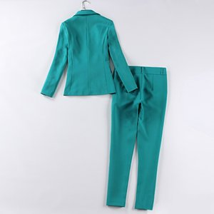 Professional women's suit pants two sets Autumn Slim Green Ms. Jacket Small Suit Female Office Workwear Female high quality 2019