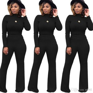 Frauen Hohe Wiast Trainingsanzug Kit Thread Body Und Lange Wilde Beinhose Zwei Stücke Anzug Clubwear Sexy Frühling Hause Kleidung 49qm E1
