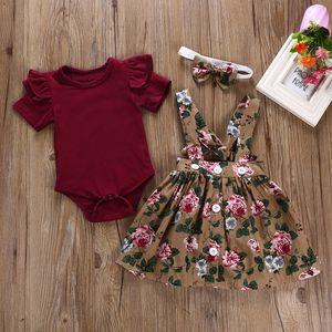 Menina mais nova roupa do bebê manga curta O-Neck Romper + Print Dress + impressão Bow Headband roupa do bebé definir kiz bebek GIYIM