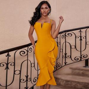 Ocstrade sirena del vendaje Vestido Midi Vestidos de fiesta 2020 atractivo nueva llegada jengibre amarillas sin mangas Rayón mujeres del vendaje de Bodycon