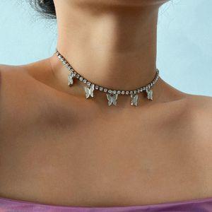 아이스 아웃 다이아몬드 나비 목걸이 테니스 체인 목걸이 술 패션 쥬얼리 여성 목걸이 의지와 모래 패션을 숨 막히게