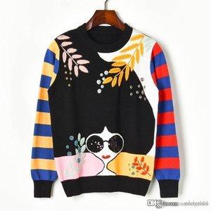 2020 New Casual Women pullover women Embroidery Leaf Stripe Beading Sunglasses Stripe Girl Long Sleeve Sweaters women sweaters