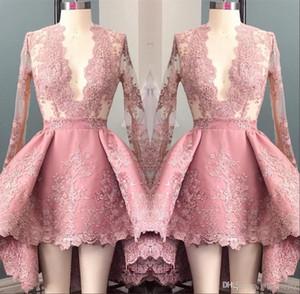 Hola vestir Lo largo de color rosa mangas Apliques Homecoming Cocktail 2020 Vestidos de fiesta Prom profundo cuello en V elegante octavo grado