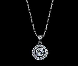 Collana Fashion Designer collane grande cerchio di diamante della CZ con catena Box per le donne bianche zircone Jewery per la festa nuziale