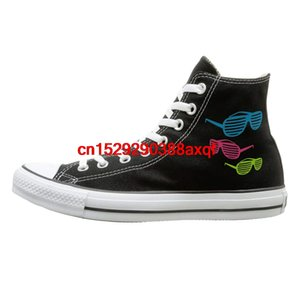 Unisex Casual Shoes Boys and Girls Sports Shoes Colorful Sunglasses Canvas Shoes High Top Sport Black Sneakers Unisex Style