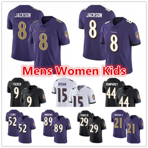Mens Mujeres Baltimore JuvenilRavens Jersey 8 Lamar Jackson 9 Justin Tucker 15 marquesa Brown Mark Ingram Marlon Humphrey fútbol jerseys