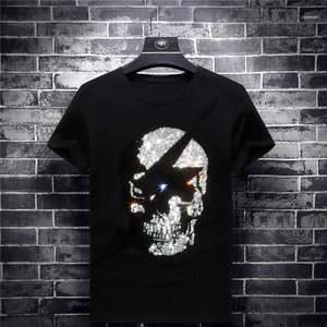 Männlich Modal Tees Marke Schädel Designer Herren-T-Shirts kurze Hülse O Ansatz Hot Drilling Schwarz Herren-Oberteile Mode