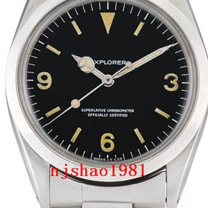 Relógios de pulso 1965 anos 36mm Vintage Explorador Air King 1016 Stainless Steel Men Mecânica Automatic Mens Relógios de pulso