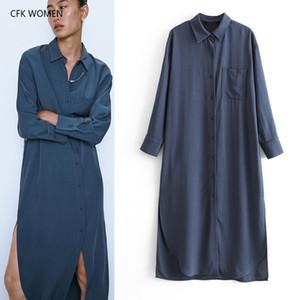 CFK femmes robe chemise baissez col solide robe en coton à manches longues 2019 nouvelle automne bleu lâche à long casual chic