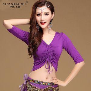 Modal V-Ausschnitt Bauch Oriental Eastern Tanz Crop Tops Shirt Kostüme für Frauen Bauchtanz Kleidung Dancer Wear Kordelzug