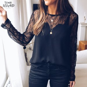 Lace Long Sleeve Shirt Women O Neck Black T Shirt Cheap Clothes Summer Tops Femininas Camisas Clothing Female