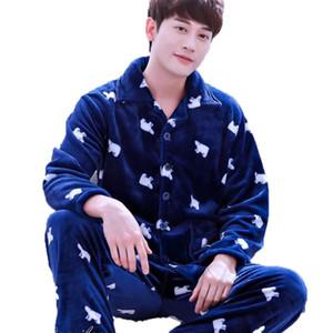 Pigiama Tute uomo invernali Turn-giù il collare Uomo cardigan maschile Sleepwear Pajamas Uomini Lounge Flannel Pajama Set Plus Size