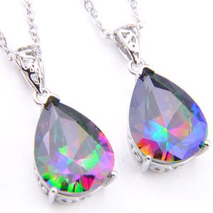 Luckyshine 12 pçs / lote jóia de noivado gota de água do arco-íris topázio pedras preciosas 925 colar de prata esterlina para mulheres pingentes de casamento jóias