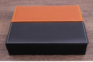100pcs set Black or brown pen case plastic with PU cover material
