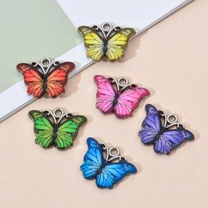 10PCS / Lot von Alloy Bunte Schmetterlings-Charme Connectors für handgemachte Verzierungen DIY Halsketten-Armband-Fertigkeit Schmuckherstellung