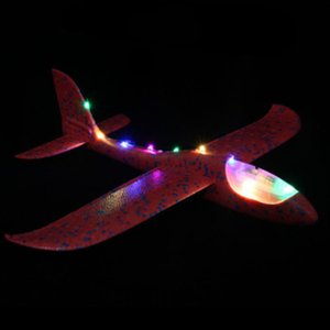 48 Cm Aircraft Modle Lamp Light Plane Throwing Glider Toy Airplane Inertial Hand Flying Gliders Outdoor Fun Sports Planes Toy for Children