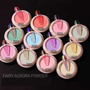 Art Chrome Pigment immersione decorazioni polvere solida Powder Aurora trasparente Holo Nail scintillio specchio Aurora Neon Polveri Nail