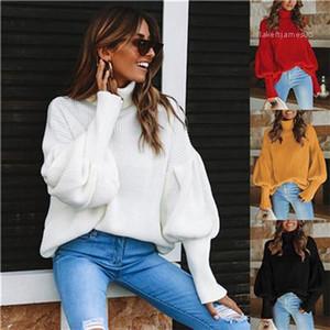의류 여자의 가을 디자이너 유행 스웨터 터틀넥 손전등 소매 스웨터 우연한 귀여운 작풍