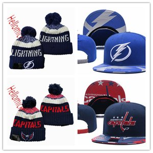 Tampa Bay Lightning Snapback Siyah tüm gri işlemeli Washington Capitals Bere Beanies Caps bir beden uyumu kırmızı Caps