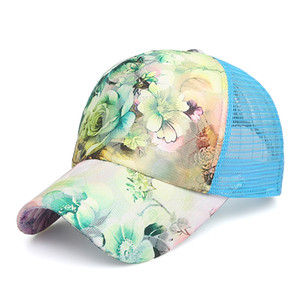 소녀 장미 꽃 모자 남녀 클래식 야구 모자 여름 메쉬 모자 스냅 백 레저 양산 캡 힙합 모자 GGA2496