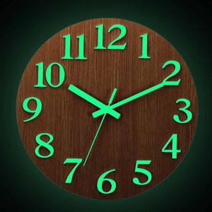 12 Inch Silent Luminous Wall Clocks Glow in Dark Modern 3D Decor Home Living Room Bedroom Quartz Wall Hanging Clock T200601