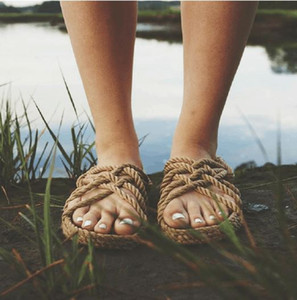 Hot Sale-Gladiator Sandals Rope per le donne unisex estate scarpe da spiaggia naturale Sandali diapositive Flip Flops a mano Beige