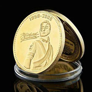 Medalha Comemorativa Coin World Music rei Michael Jackson uma onça banhado a ouro Collectible Craft Coin