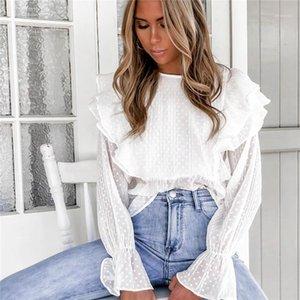 T Shirt Womens Casual Clothing Spring Autumn Womens T Shirt Chiffon Ruffle Flare Bell Sleeve Womens Designer