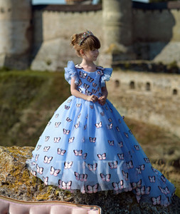 New Lovely Blue Organza Layers Beads Flower Girl Dresses Girls' Pageant Dresses Birthday Holidays Dresses Custom Size 2-14 FF720239