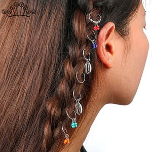 Charm Boho 7 pcs set Kids Girls Hairwear Vintage Silver Hair Pins Compiled Women Hair Accessories Circle Hoop Hair Jewelry