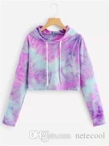 New Harajuku Sweatshirt Hoodies Women Streetwear Tie Dye Crop Top Hoodie Korean Style Woman Clothes Moletom