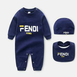 Nouvelle promotion 3 pièce printemps bodies bébé ensemble et à l'automne 100% coton pyjama nouveau-né manches longues chapeau de serviette de salive