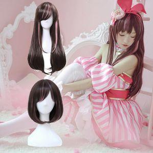 Youtuber Channel Bonding Virtual AI Inteligência Artificial Brown híbrido Rosa Peruca completa Halloween Wig