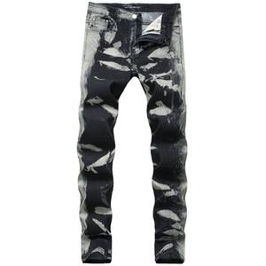 Grey Spots regolare Jeans Uomo Moda Lungo tratto matita del progettista pantaloni metà di vita Stampa Pantaloni Mens