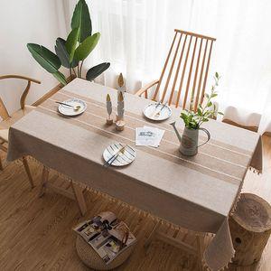 Decoración Hogar Tabla paño de algodón de lino de la borla de Mantel rectangular Mantel impresión de la raya moderna Mesa de comedor cubierta para el partido VT0533