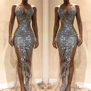 Robes de bal sexy sirène paillettes argent fendue devant voir à travers des robes de soirée occasion robe de soirée