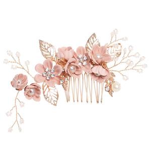 1 PC de Luxo Azul Rosa Flor Pentes de Cabelo Cocar Nupcial Do Baile de Finalistas Acessórios Para o Cabelo Da Coroa de Ouro Deixa Jóias Pinos de Cabelo