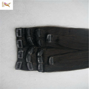 Brazilian Remy 8A Straight Hair Clip In Human Hair Extensions Black Color 7 Pieces Set 100G