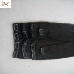 Remy do brasileiro 8A Hetero grampo de cabelo em extensões do cabelo humano Negro Cor 7 Peças / Set 100G