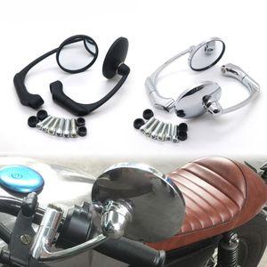 Motosiklet Siyah / Krom Retro Yuvarlak Dikiz Yan Aynalar için GN125 Cafe Racer Özel