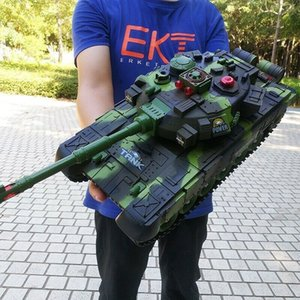 33 44cm RC Battle Tank Military Tactical Vehicle LED Lighting Off-road Tracked Remote Control Tanks Model Chassis Toys For Boys Y200317