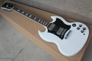 free shipping factory custom white guitar,chrome hardware,black pickboard,mahogany body,rosewood fretboard,LP pickups,LP bridge