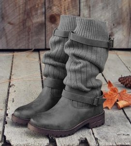 Women Boots Winter Buckle motorcycle boot Flat Shoes Knitted Sweater Socks Slip-on Knight Boots Casual Plus Size Eu43 Wholesale