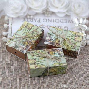 Novelty World Map Gift Box Kraft Drawer Paper Candy Boxes for Guests Wedding Birthday Favors Gift Packaging Bag Supplies