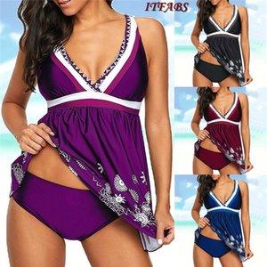 S-3XL Plus Size Badebekleidungs-Schwimmen-Rock-Frauen-Druck-Backless Zwei Badeanzug Set Badeanzug Frauen Big Size Bademode Shorts Set