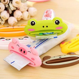 3D Cartoon plastique Dentifrice squeeze Imprimé animal Brosse à dents Tube Porte-roulement GRENOUiLLE Pig Serrant Salle de bain Set WY462Q